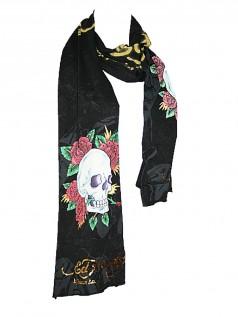 Schals - Ed Hardy Strass Designer Schal Skull Rose  - Onlineshop Brandlots